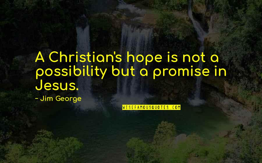 Fear Of Telling The Truth Quotes By Jim George: A Christian's hope is not a possibility but