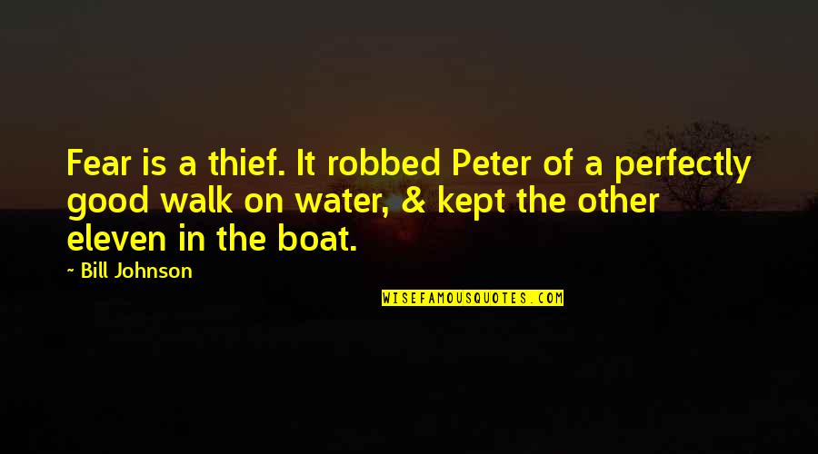 Fear Of The Other Quotes By Bill Johnson: Fear is a thief. It robbed Peter of