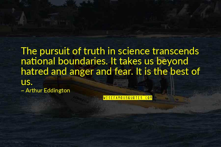 Fear Of The Truth Quotes By Arthur Eddington: The pursuit of truth in science transcends national