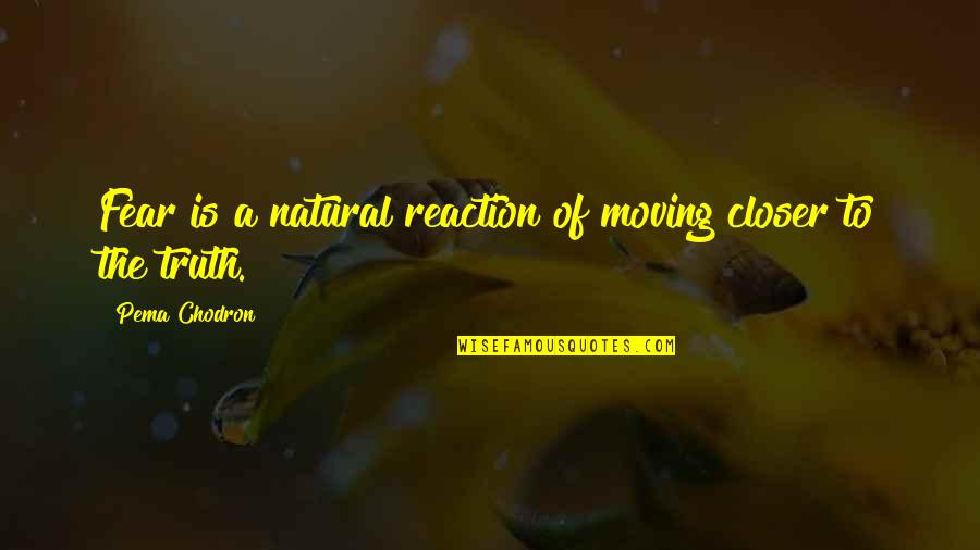Fear Of The Truth Quotes By Pema Chodron: Fear is a natural reaction of moving closer