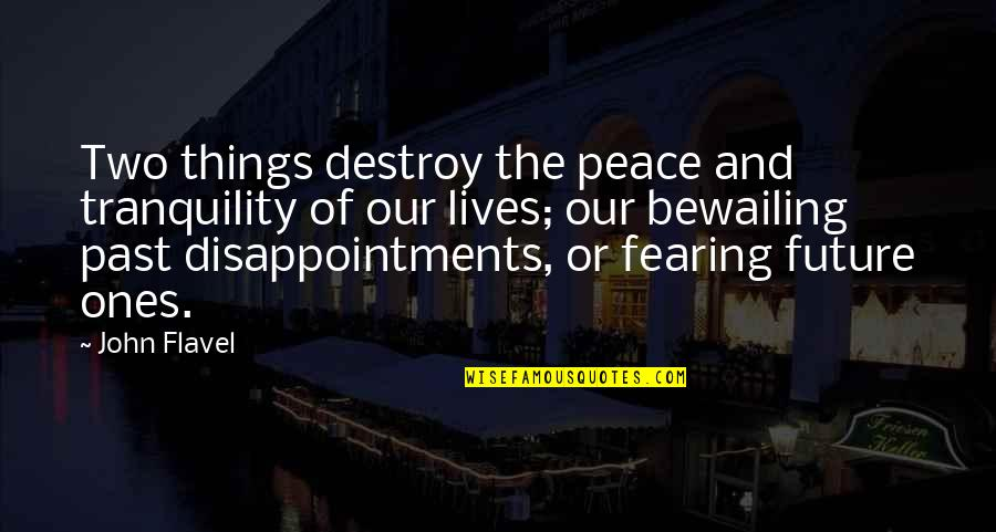 Fearing The Future Quotes By John Flavel: Two things destroy the peace and tranquility of