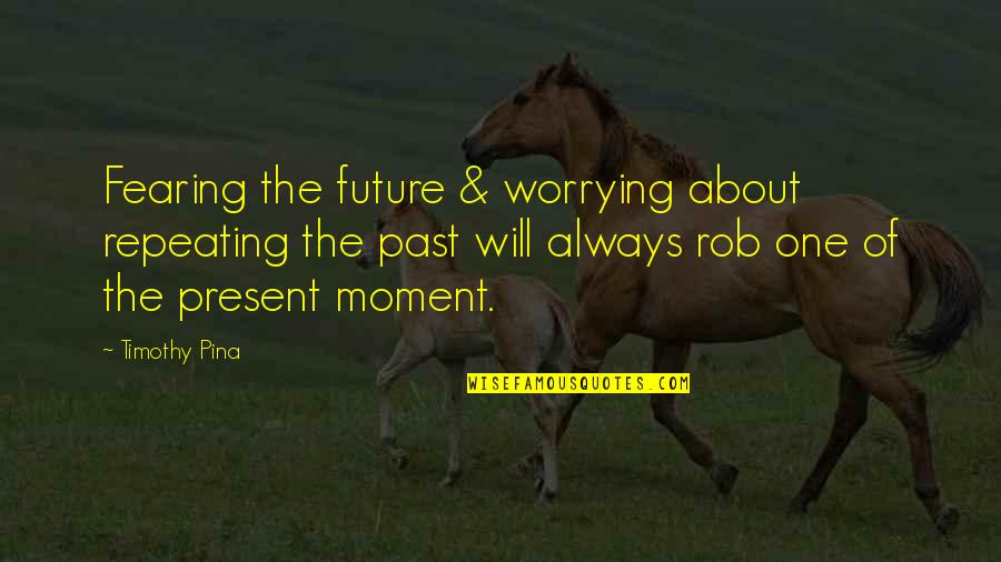 Fearing The Future Quotes By Timothy Pina: Fearing the future & worrying about repeating the