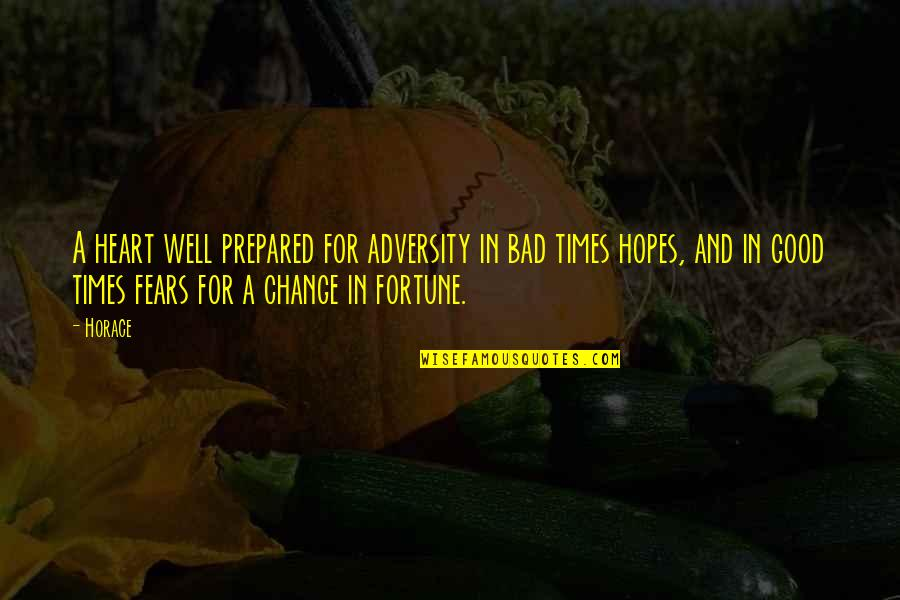 Fears Of Change Quotes By Horace: A heart well prepared for adversity in bad