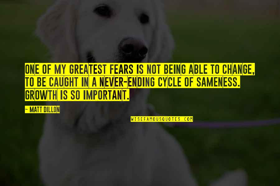 Fears Of Change Quotes By Matt Dillon: One of my greatest fears is not being