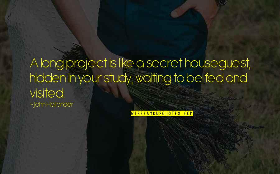 Fed Up Of Waiting For You Quotes By John Hollander: A long project is like a secret houseguest,