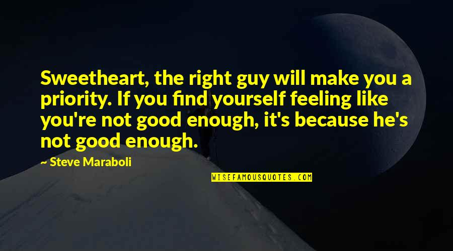 Feeling Like Yourself Quotes By Steve Maraboli: Sweetheart, the right guy will make you a