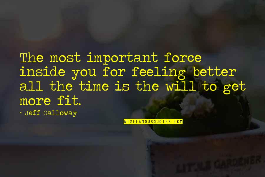 Feeling Much Better Quotes By Jeff Galloway: The most important force inside you for feeling
