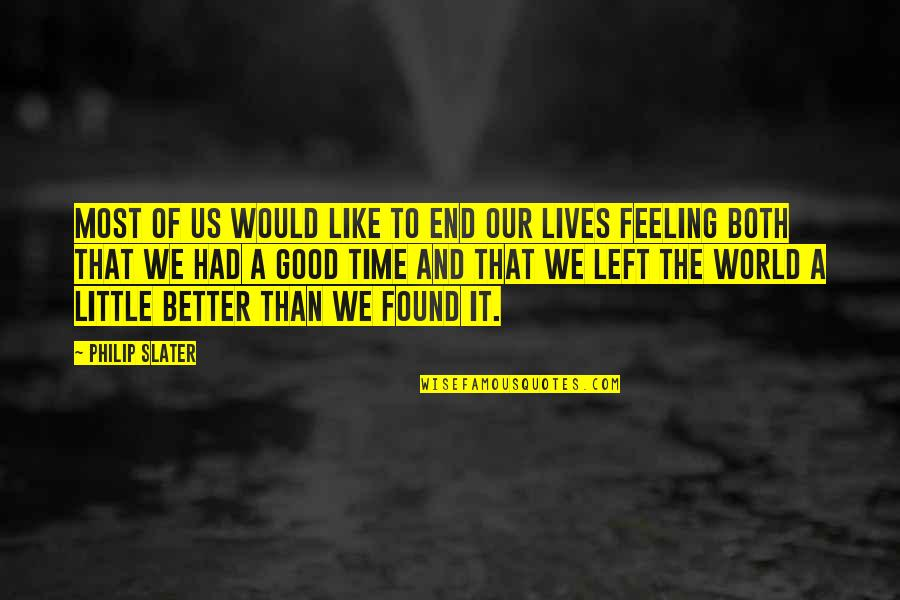 Feeling Much Better Quotes By Philip Slater: Most of us would like to end our