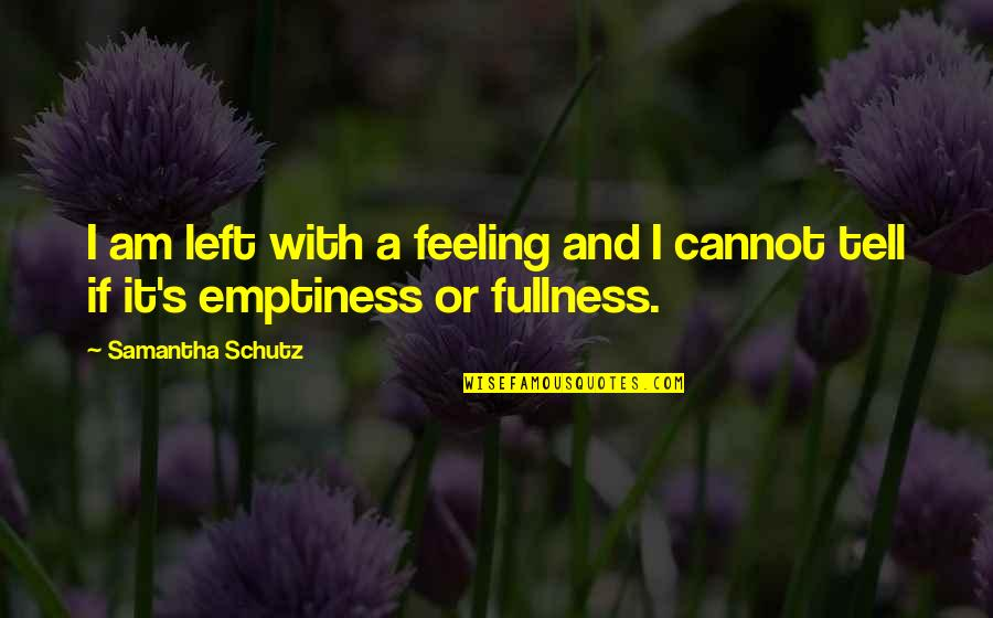 Feeling Of Emptiness Quotes By Samantha Schutz: I am left with a feeling and I