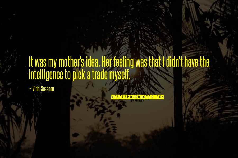 Feeling Of Incompleteness Quotes By Vidal Sassoon: It was my mother's idea. Her feeling was