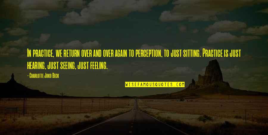 Feeling Okay Again Quotes By Charlotte Joko Beck: In practice, we return over and over again