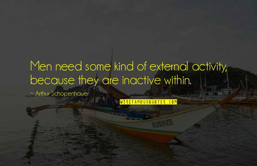 Feeling Optimistic Quotes By Arthur Schopenhauer: Men need some kind of external activity, because
