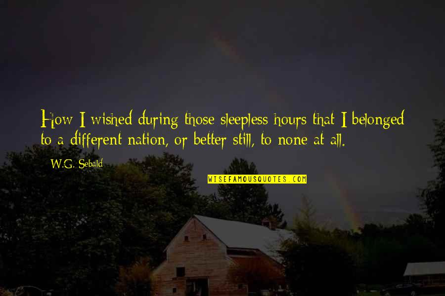 Feeling Overloaded Quotes By W.G. Sebald: How I wished during those sleepless hours that