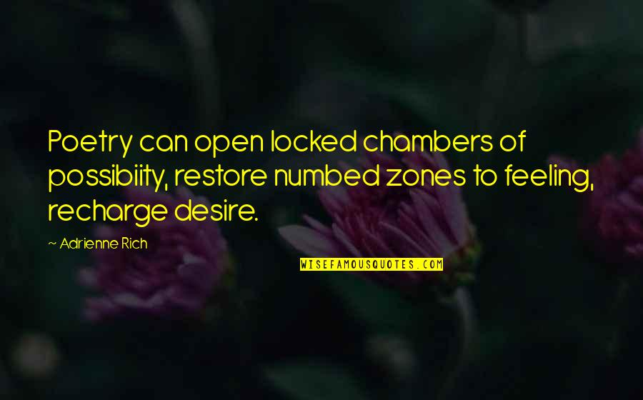 Feeling Rich Quotes By Adrienne Rich: Poetry can open locked chambers of possibiity, restore