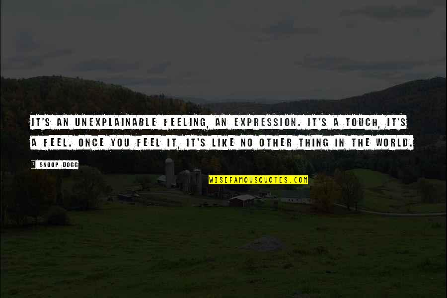 Feeling The Best Quotes By Snoop Dogg: It's an unexplainable feeling, an expression. It's a