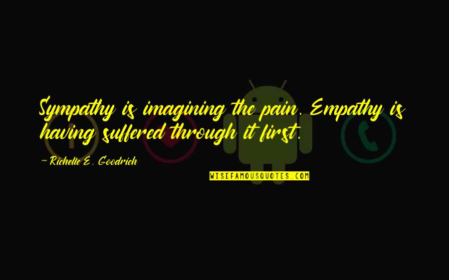 Feeling The Pain Of Others Quotes By Richelle E. Goodrich: Sympathy is imagining the pain. Empathy is having