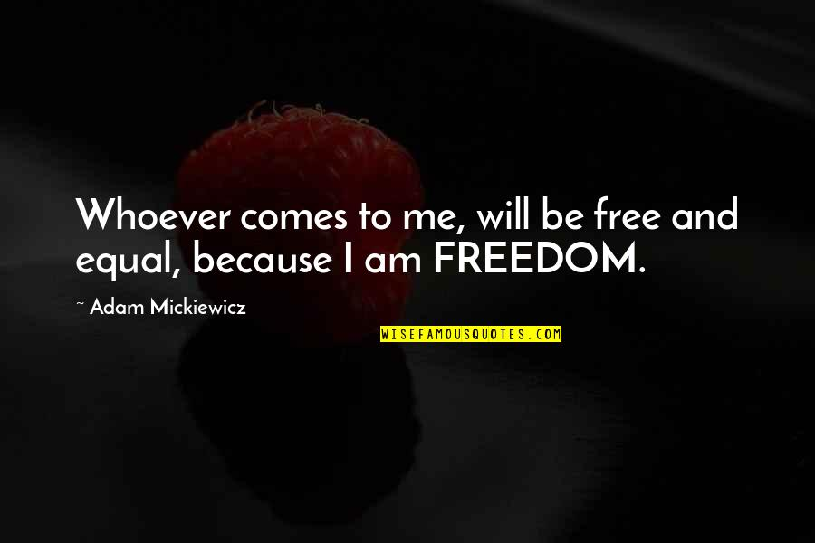 Feeling Worthless To Someone Quotes By Adam Mickiewicz: Whoever comes to me, will be free and