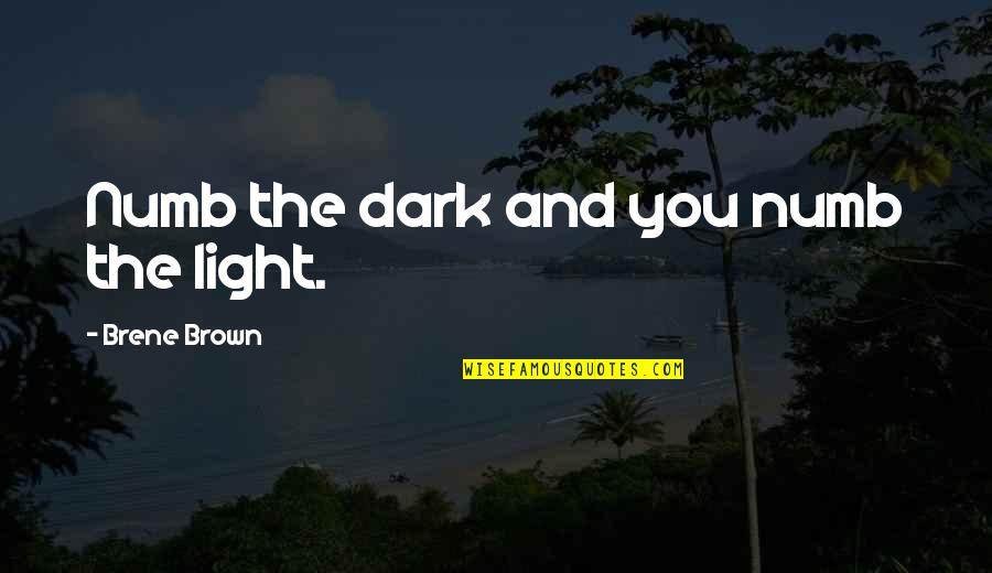 Feelings Of Joy Quotes By Brene Brown: Numb the dark and you numb the light.