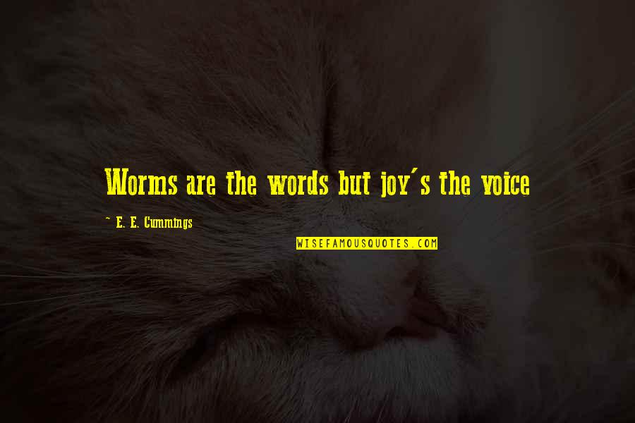 Feelings Of Joy Quotes By E. E. Cummings: Worms are the words but joy's the voice