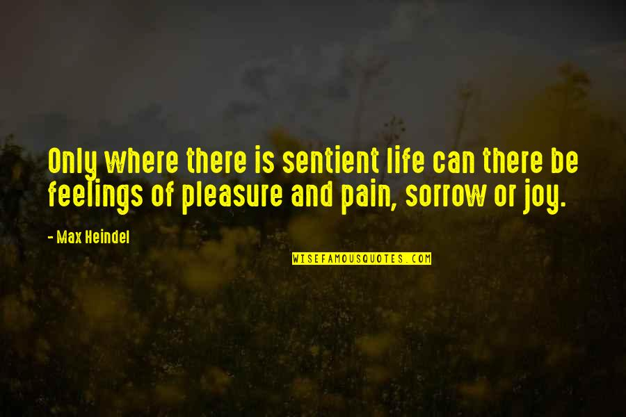 Feelings Of Joy Quotes By Max Heindel: Only where there is sentient life can there