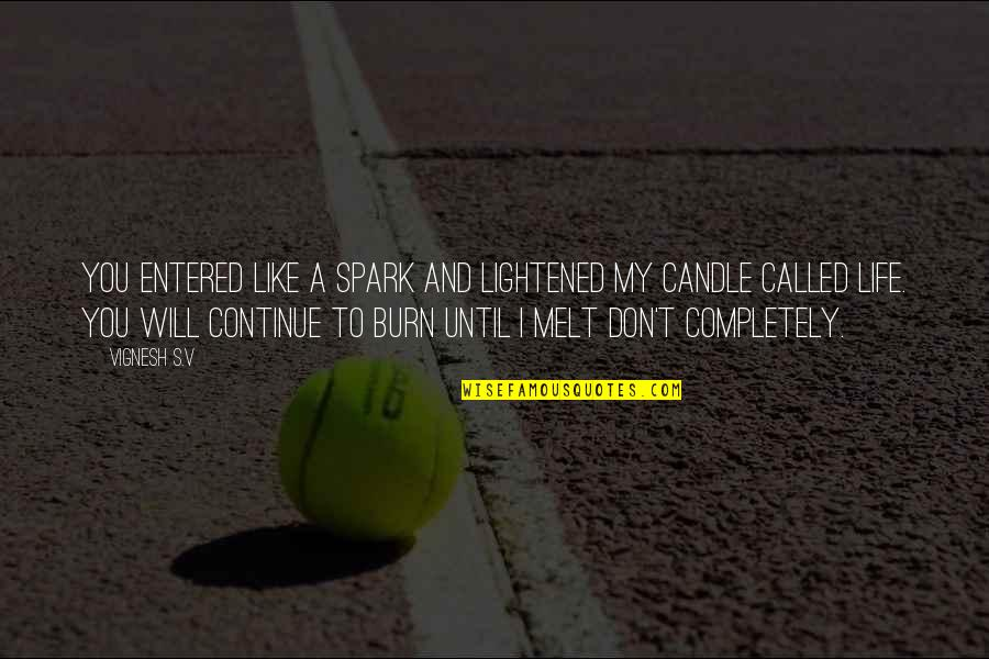 Feelings Sayings And Quotes By Vignesh S.V: You entered like a spark and lightened my