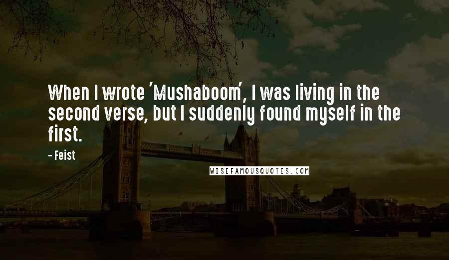 Feist quotes: When I wrote 'Mushaboom', I was living in the second verse, but I suddenly found myself in the first.