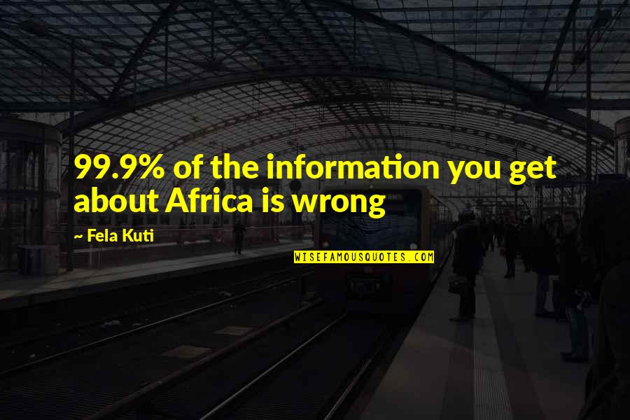 Fela Kuti Best Quotes By Fela Kuti: 99.9% of the information you get about Africa
