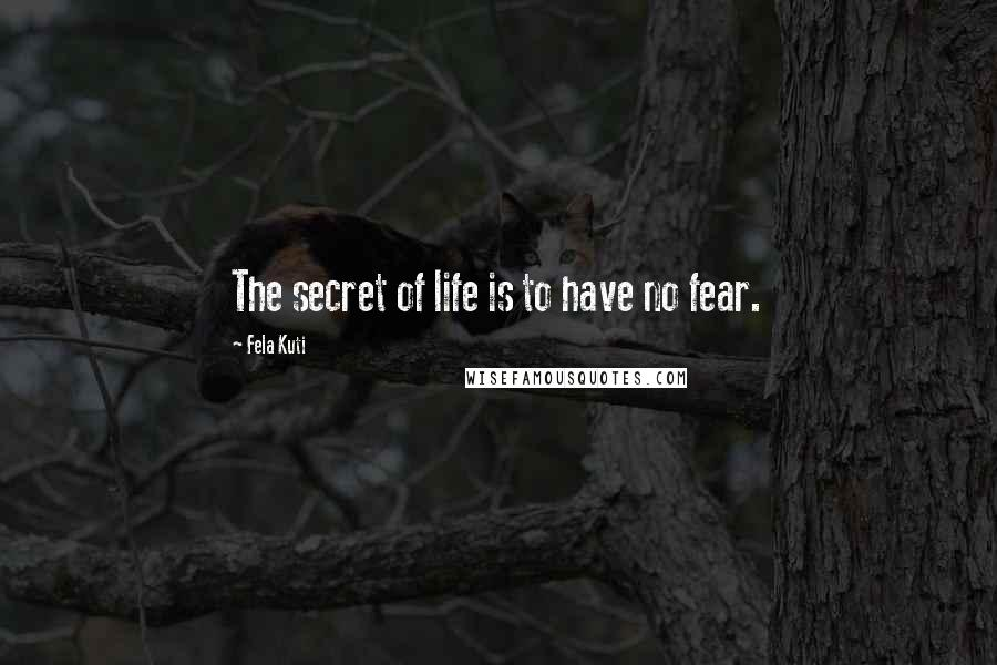 Fela Kuti quotes: The secret of life is to have no fear.