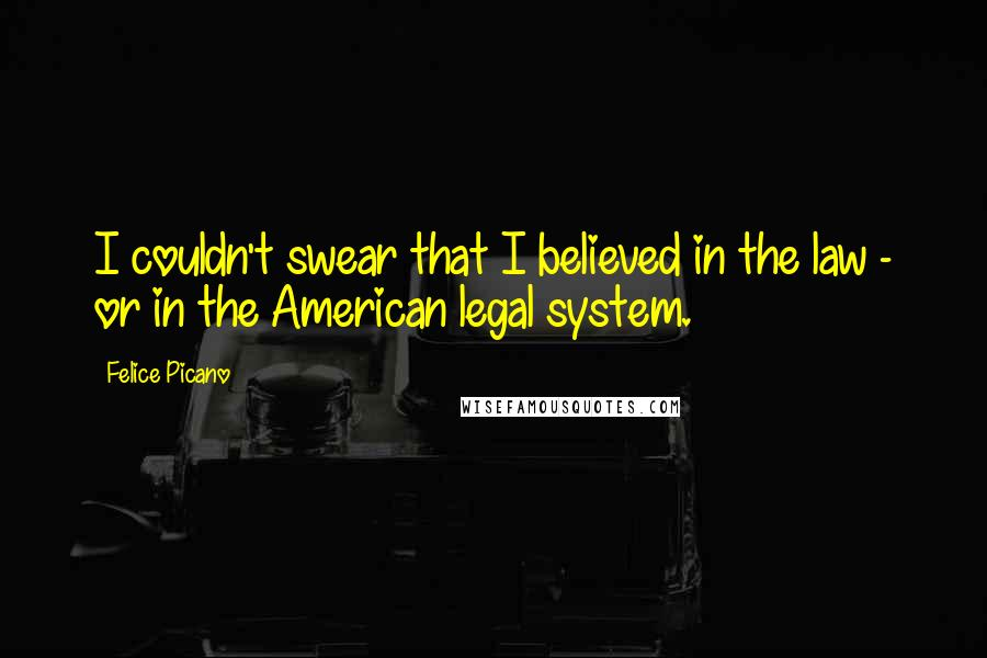 Felice Picano quotes: I couldn't swear that I believed in the law - or in the American legal system.