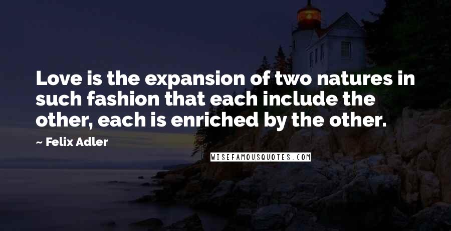 Felix Adler quotes: Love is the expansion of two natures in such fashion that each include the other, each is enriched by the other.