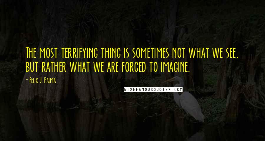 Felix J. Palma quotes: The most terrifying thing is sometimes not what we see, but rather what we are forced to imagine.
