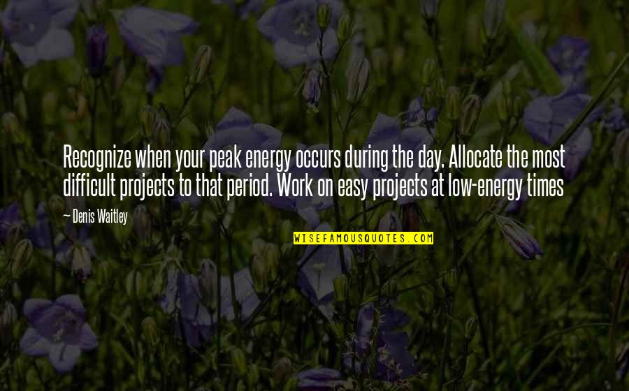 Feliz Cumpleanos Abuela Quotes By Denis Waitley: Recognize when your peak energy occurs during the