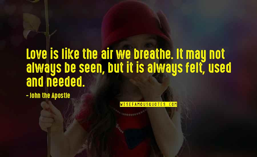 Felt Used Quotes By John The Apostle: Love is like the air we breathe. It
