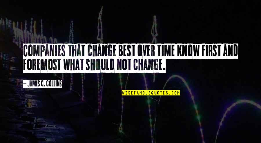 Female Physician Quotes By James C. Collins: Companies that change best over time know first