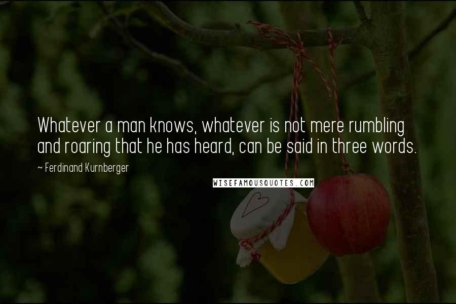 Ferdinand Kurnberger quotes: Whatever a man knows, whatever is not mere rumbling and roaring that he has heard, can be said in three words.
