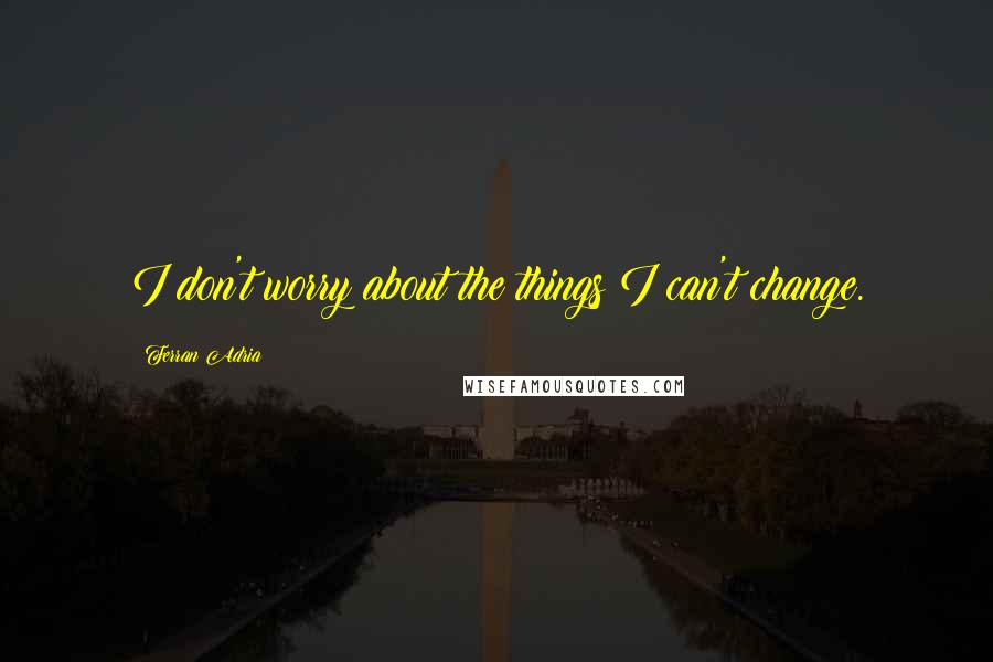 Ferran Adria quotes: I don't worry about the things I can't change.