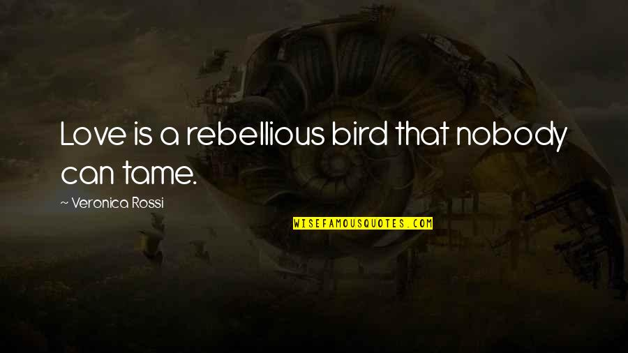 Ferrie Quotes By Veronica Rossi: Love is a rebellious bird that nobody can