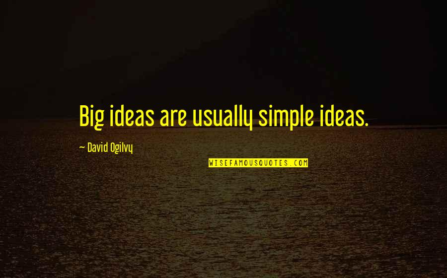 Fevicol Quotes By David Ogilvy: Big ideas are usually simple ideas.