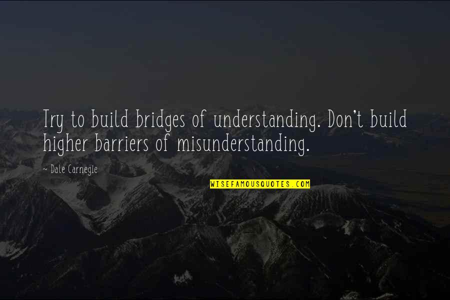 Feynman Physics Quotes By Dale Carnegie: Try to build bridges of understanding. Don't build
