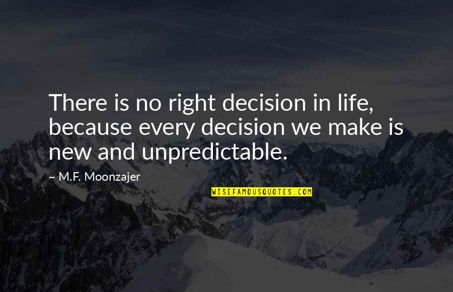 F'gotten Quotes By M.F. Moonzajer: There is no right decision in life, because