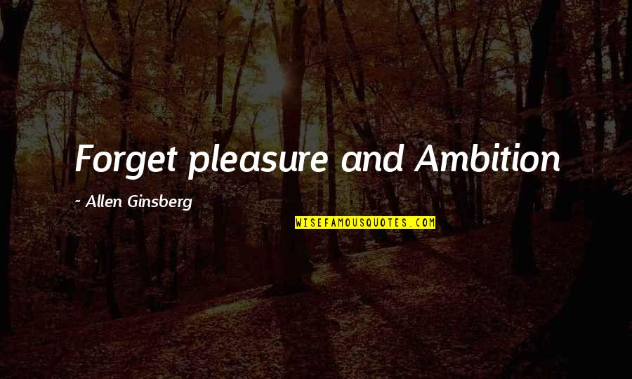 Fibered Quotes By Allen Ginsberg: Forget pleasure and Ambition