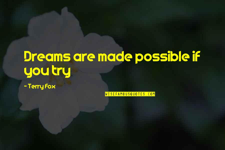 Fibrils Quotes By Terry Fox: Dreams are made possible if you try