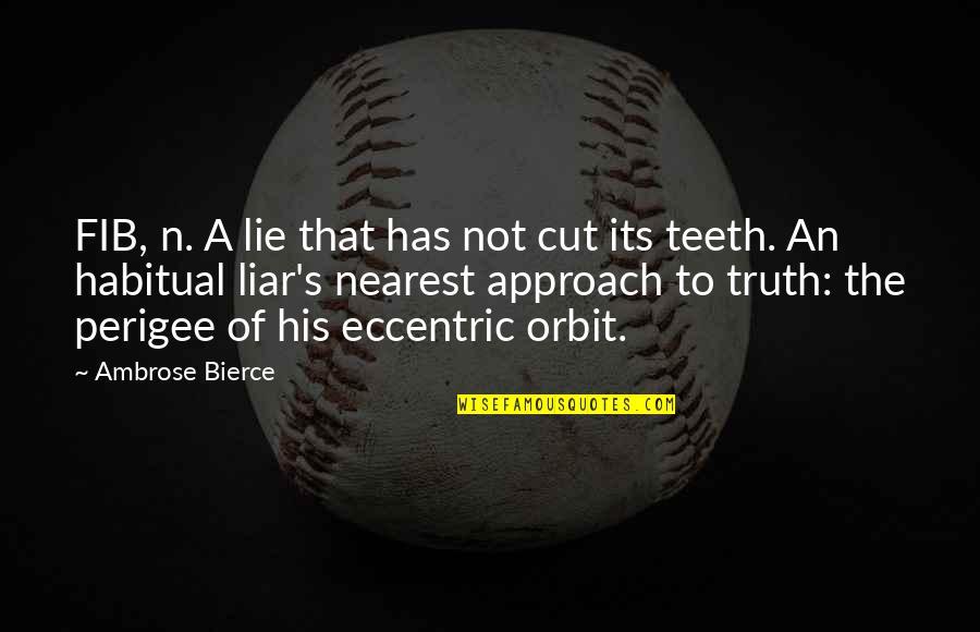 Fib's Quotes By Ambrose Bierce: FIB, n. A lie that has not cut