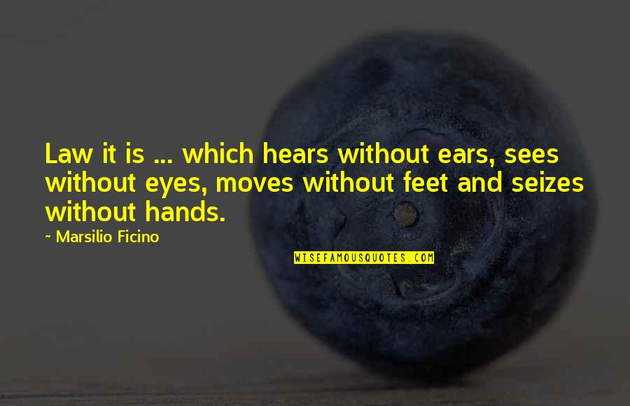 Ficino Quotes By Marsilio Ficino: Law it is ... which hears without ears,