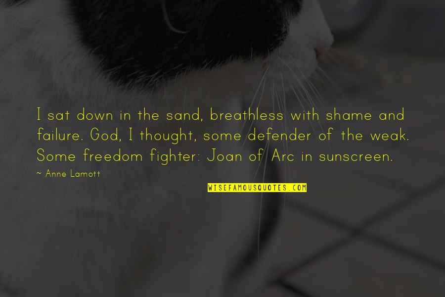 Fighter Quotes By Anne Lamott: I sat down in the sand, breathless with
