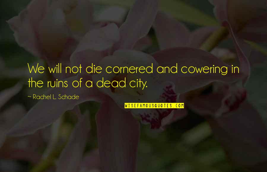 Fighter Quotes By Rachel L. Schade: We will not die cornered and cowering in