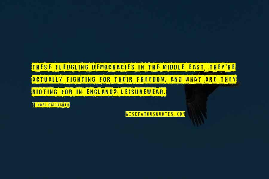Fighting For Freedom Quotes By Noel Gallagher: These fledgling democracies in the Middle East, they're