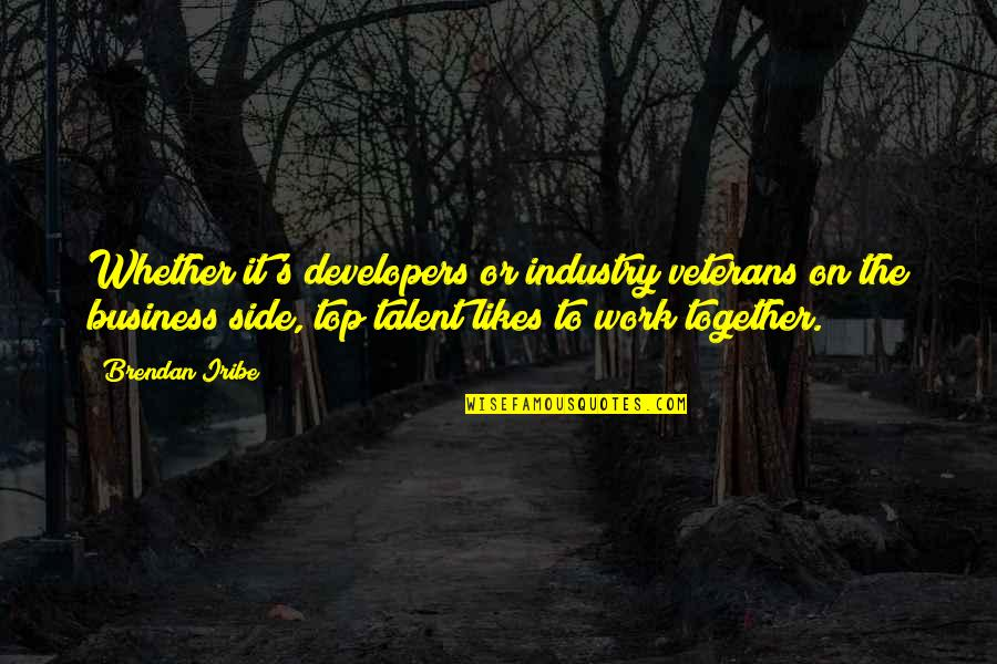 Film Reviews Quotes By Brendan Iribe: Whether it's developers or industry veterans on the