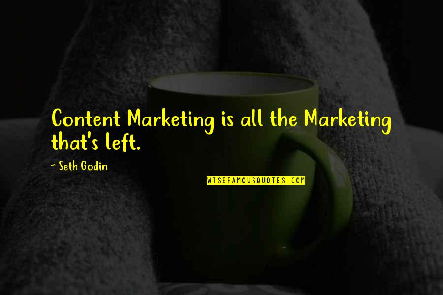 Fin Greenall Quotes By Seth Godin: Content Marketing is all the Marketing that's left.