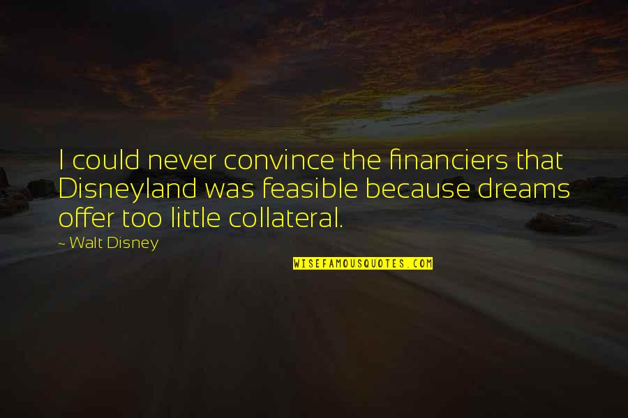 Financiers Quotes By Walt Disney: I could never convince the financiers that Disneyland